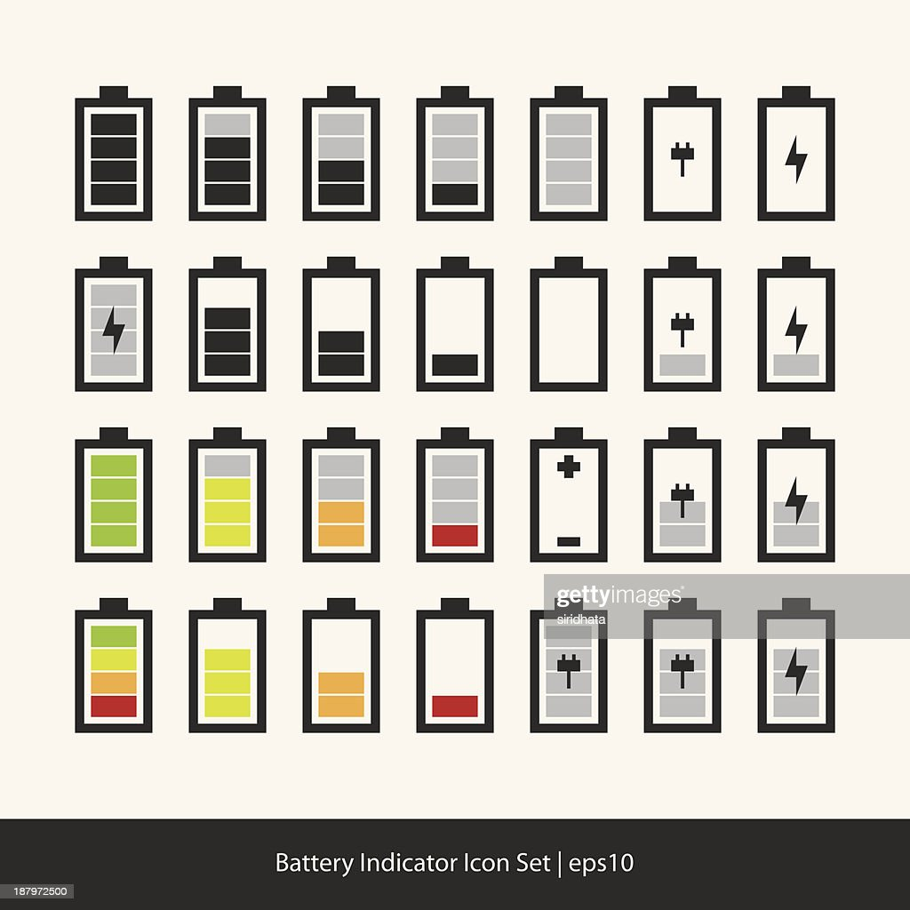 Battery Indicator Vector Set