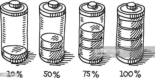 battery life full empty drawing - number 75 stock illustrations, clip art, cartoons, & icons