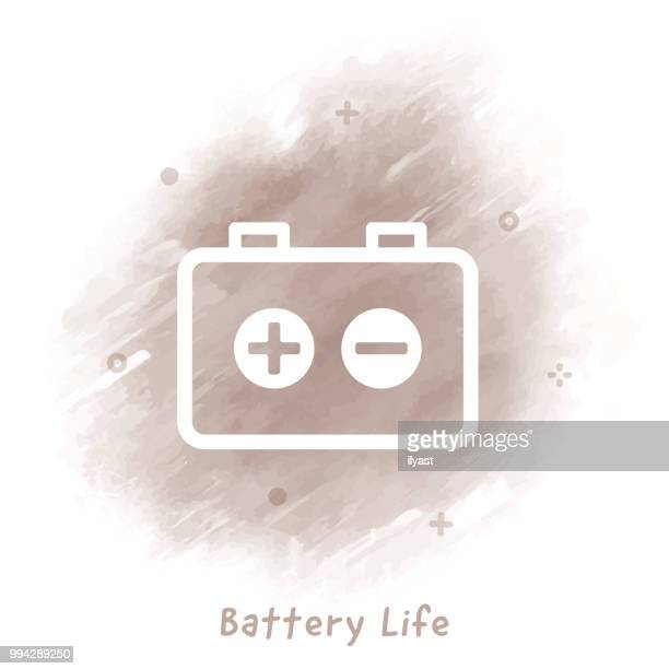 battery life line icon watercolor background - hybrid car stock illustrations, clip art, cartoons, & icons