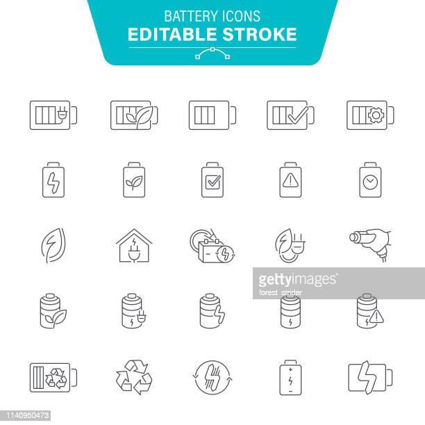 battery line icons - alkaline stock illustrations