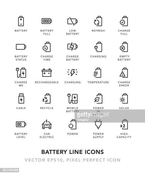 ilustraciones, imágenes clip art, dibujos animados e iconos de stock de iconos de línea batería - fuerzas de la naturaleza