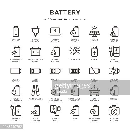 Battery Medium Line Icons High Res Vector Graphic Getty Images