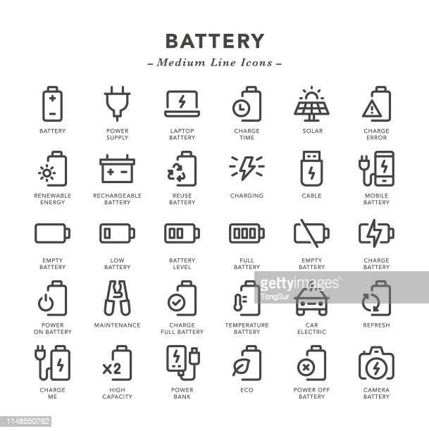 bildbanksillustrationer, clip art samt tecknat material och ikoner med batteri-medium linje ikoner - batteri