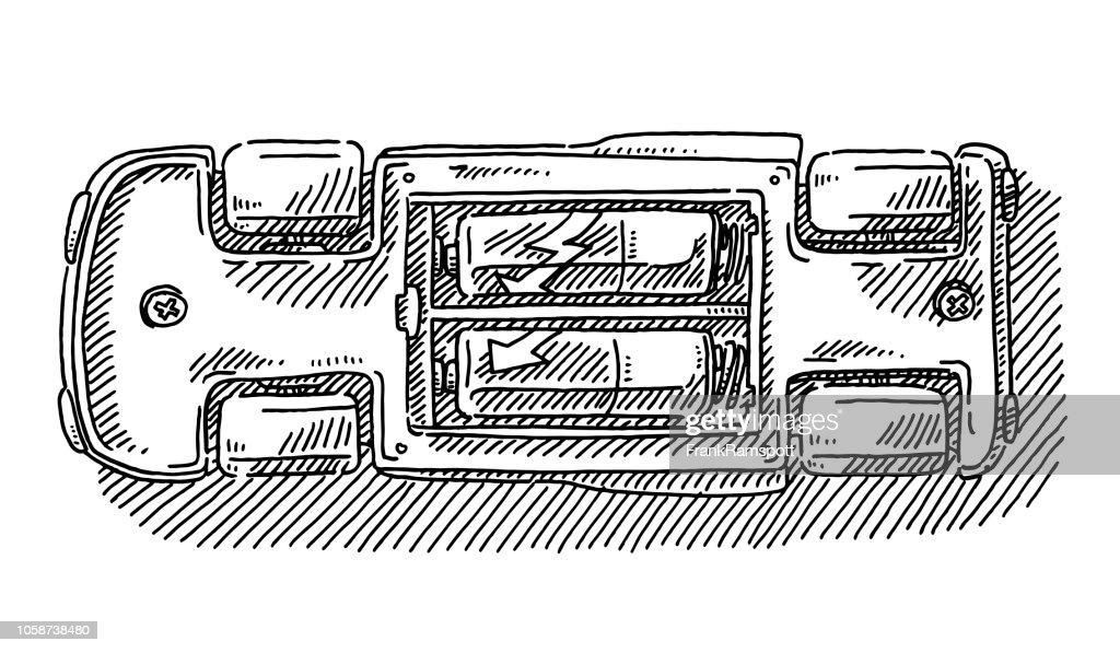 Batteriebetriebenes Spielzeug Auto Rückseite Zeichnung : Vektorgrafik