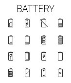 Battery related vector icon set.