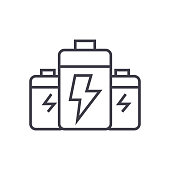 battery,energy power vector line icon, sign, illustration on background, editable strokes