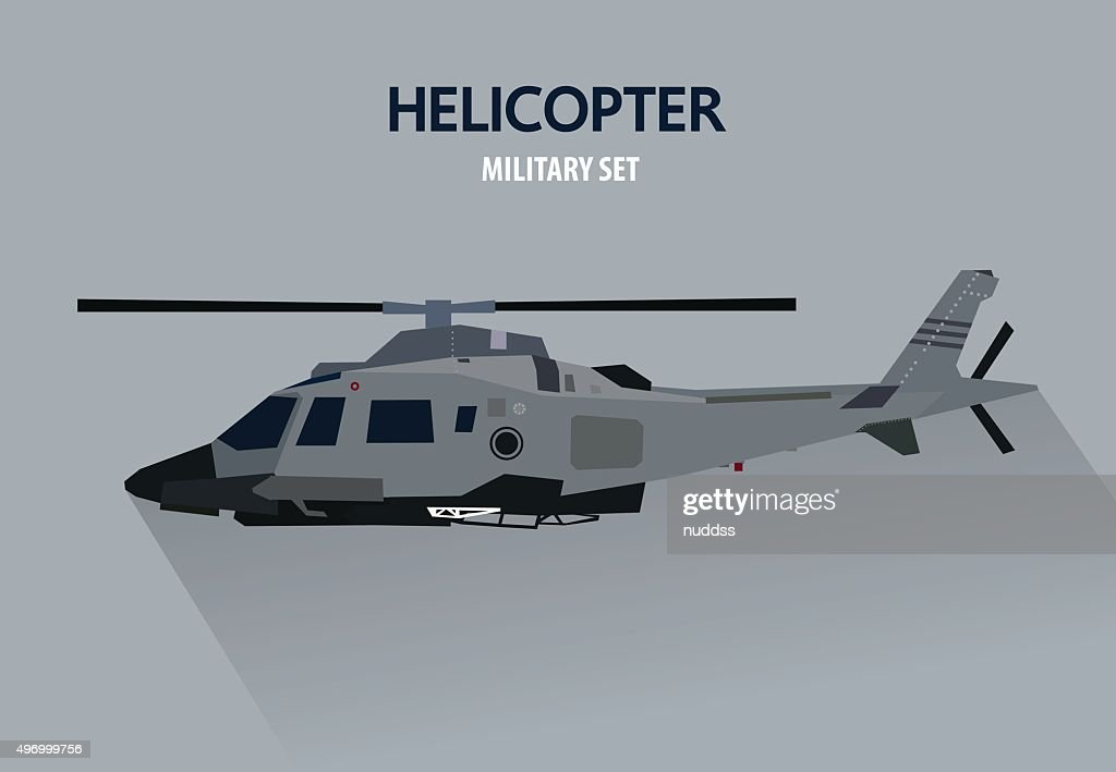 Battle Helicopter in side view, military vector illustration, flat design
