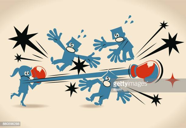 battle of the sexes. group of defeated businessmen being hit by a businesswoman - battle of the sexes concept stock illustrations
