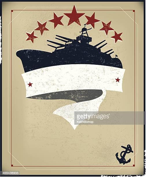 battleship banner background with anchor - battleship stock illustrations