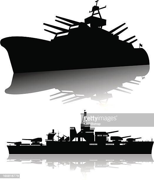 battleships - navy, silhouettes - warship stock illustrations