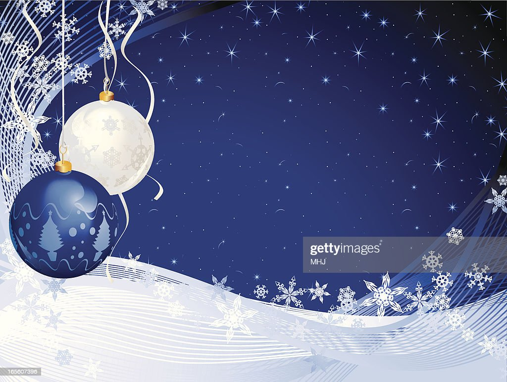 baubles and snow starry christmas background vector art - Starry Christmas
