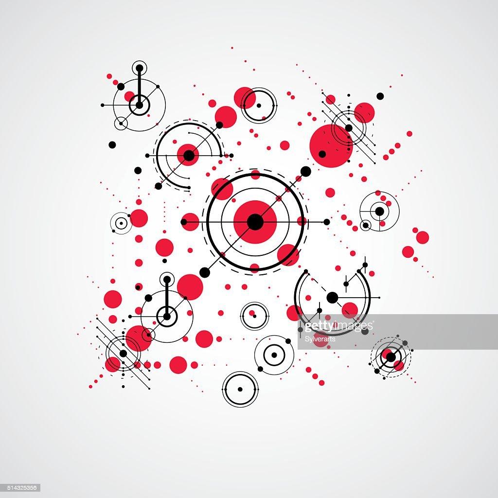 Bauhaus art composition, decorative modular red vector wallpaper