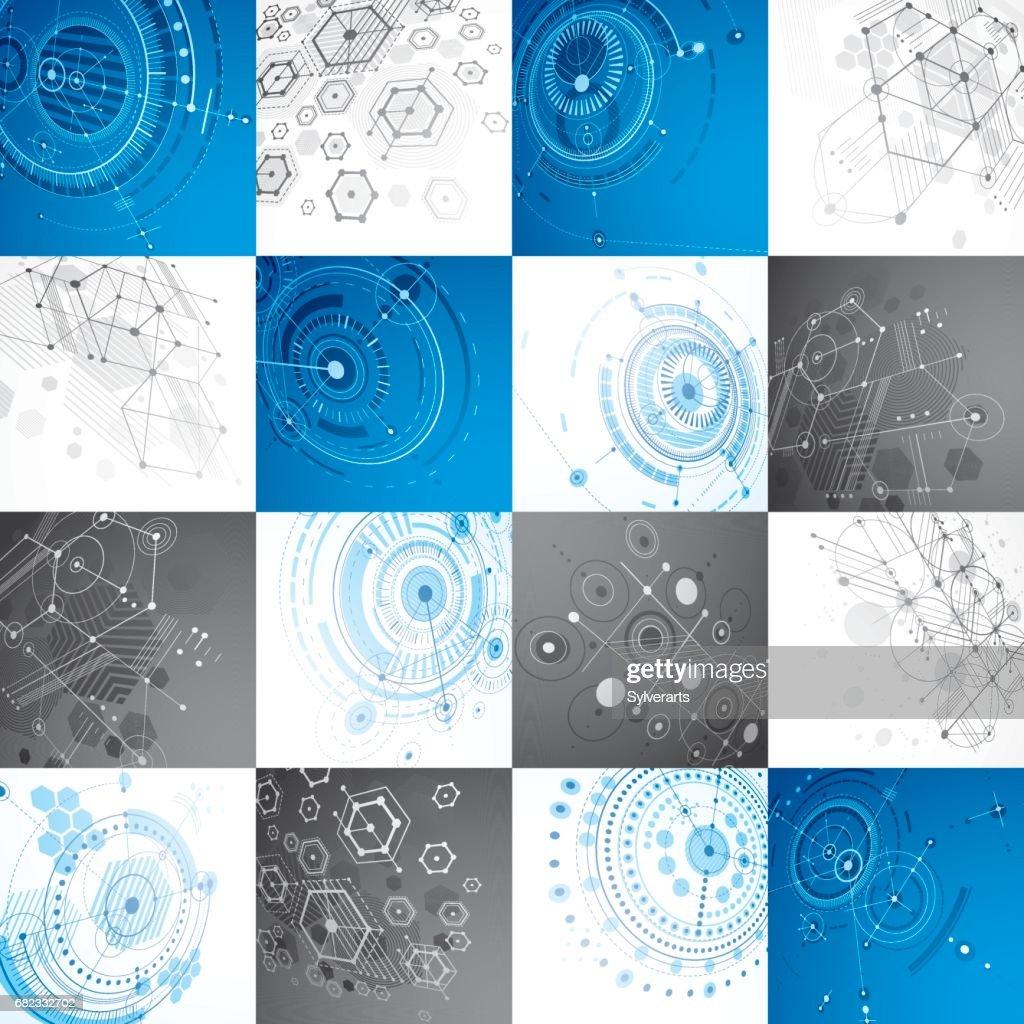 Bauhaus Kunst Modulare Vektor Tapeten Mit Kreisen Und Sechsecken