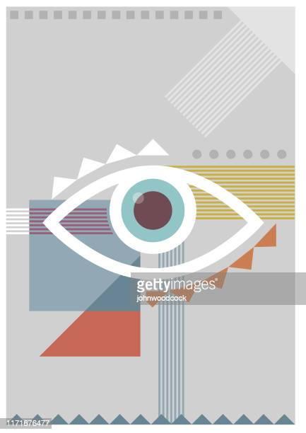 ilustrações, clipart, desenhos animados e ícones de ilustração pálida do olho do bauhaus - olho