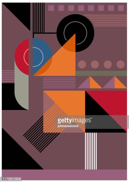 bauhaus muted background illustration - graphic print stock illustrations