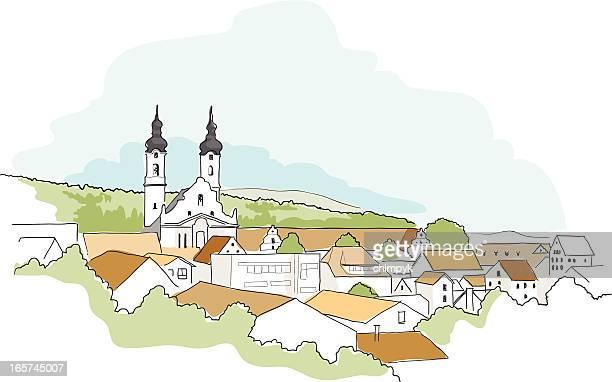 illustrations, cliparts, dessins animés et icônes de bavière croquis - village
