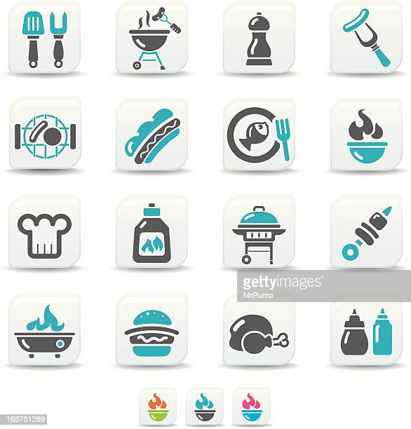 bbq icons | simicoso collection - food state stock illustrations, clip art, cartoons, & icons