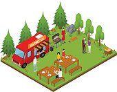 Bbq Isometric View. Vector