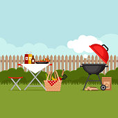 Bbq party background with grill. Barbecue poster. Flat style, vector illustration.