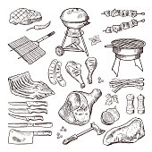 Bbq vector hand drawn illustration set. Grilled meat and other accessories for barbecue party