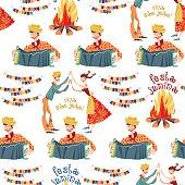 BBrazilian holiday Festa Junina (the June party). Seamless background pattern.