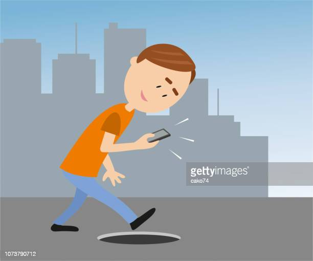 be careful while texting - careless stock illustrations, clip art, cartoons, & icons