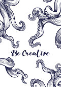 """""""Be creative"""" poster with tentacles."""