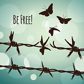 Be free! Barbed wire and butterflies