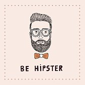 Be Hipster card, vector illustration