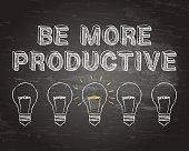 Be More Productive Light Bulbs Blackboard