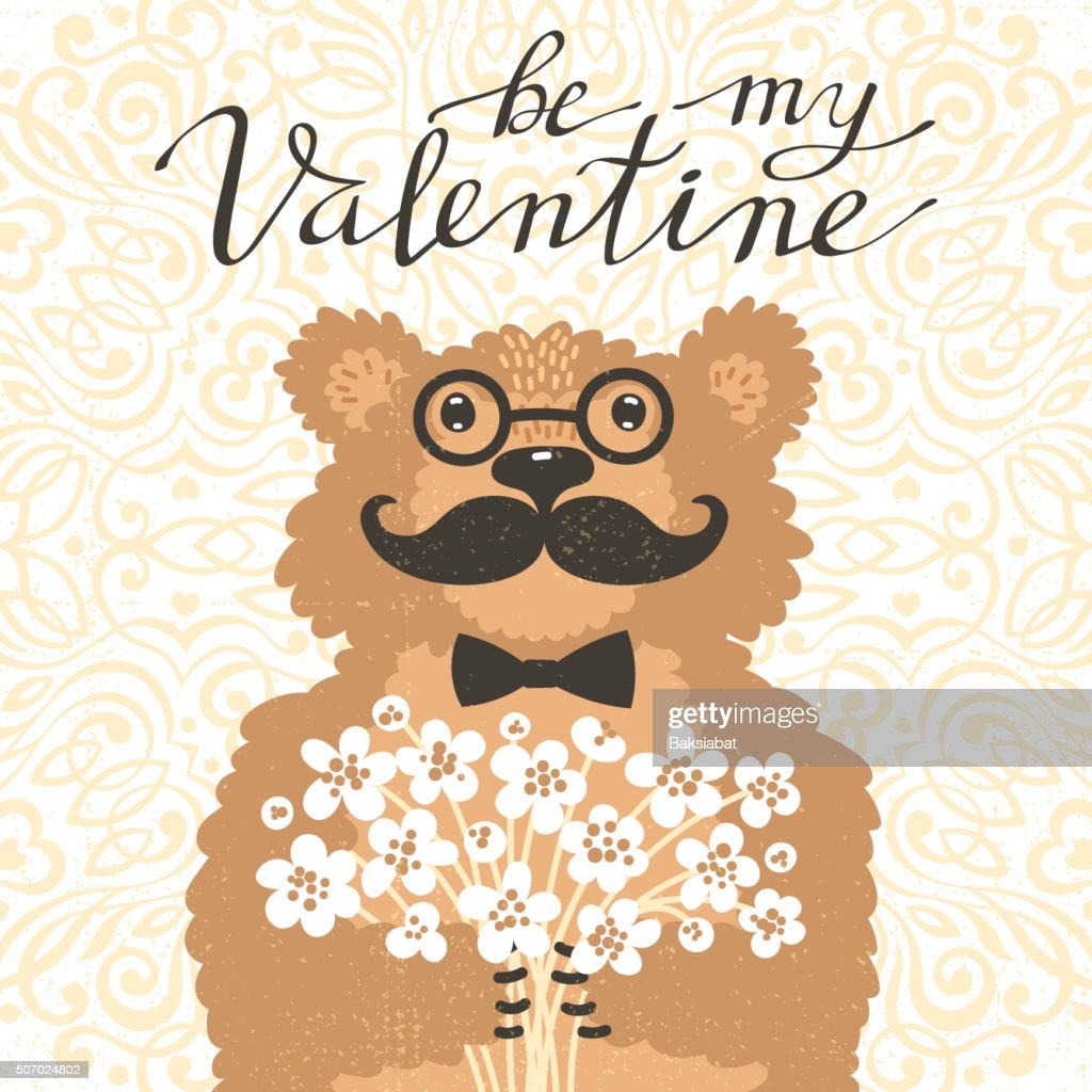 Be my Valentine Hipster bear with a bouquet of flowers