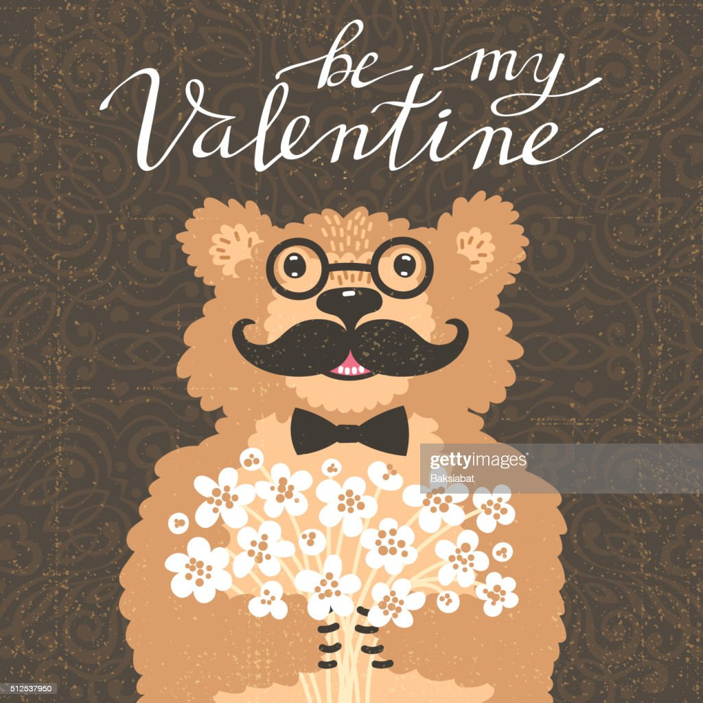 Be my Valentine. Hipster bear with a bouquet of flowers