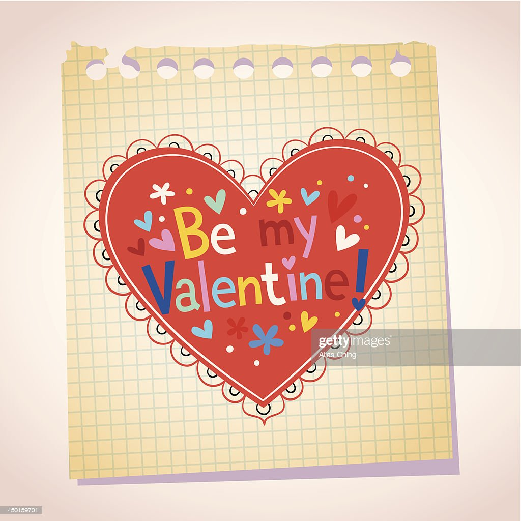 Be my Valentine note paper cartoon heart illustration