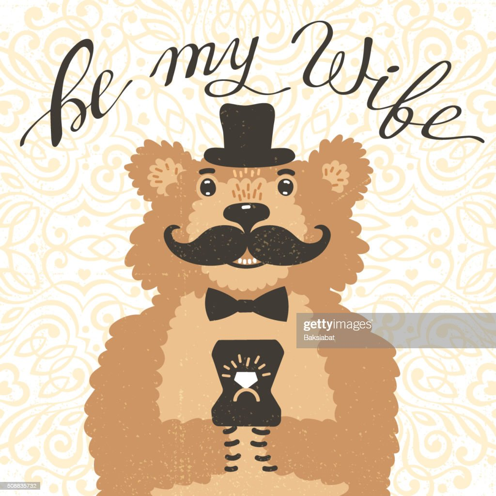 Be my wife. Hipster bear with an offer of marriage
