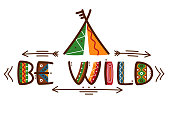 Be wild poster african style texting words design