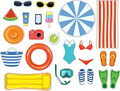 Beach Accessories top flat lay view  vector illustration .