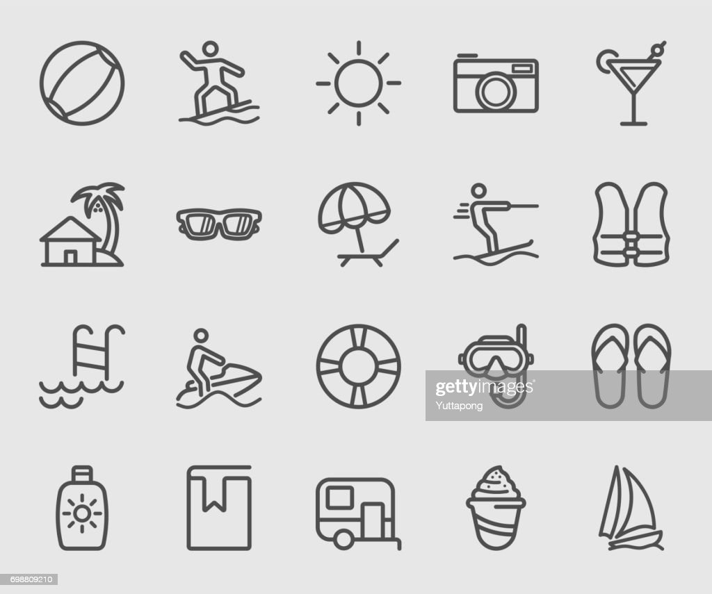 Beach and Holiday line icon