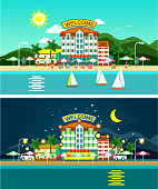 Beach and hotels panorama