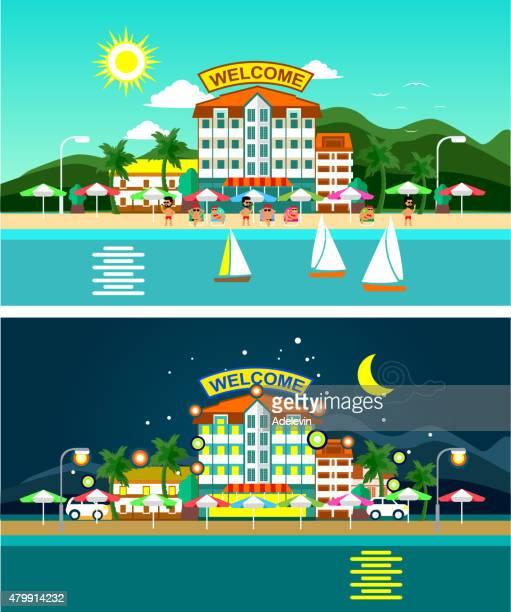 stockillustraties, clipart, cartoons en iconen met beach and hotels panorama - verblijfsoord