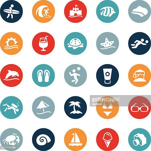 ilustraciones, imágenes clip art, dibujos animados e iconos de stock de iconos de playa y recreación - vóleibol de playa