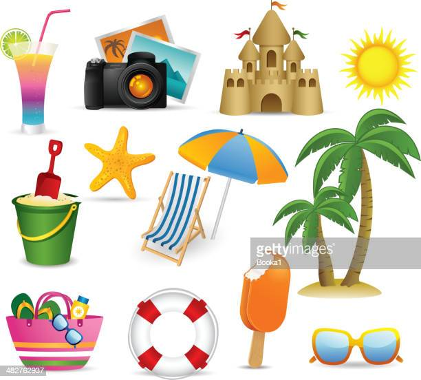 beach and summer icon collection - parasol stock illustrations