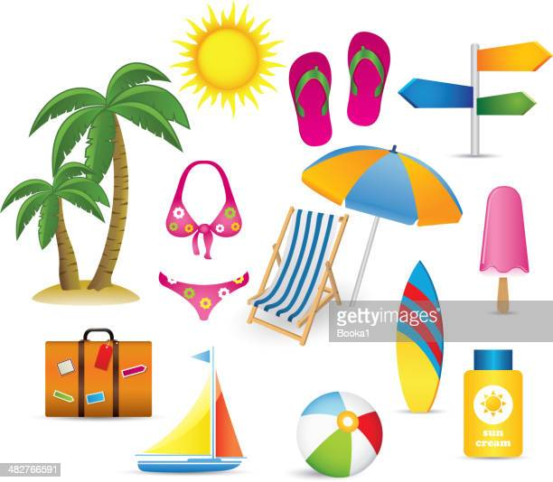 beach and summer icon collection - surfboard stock illustrations