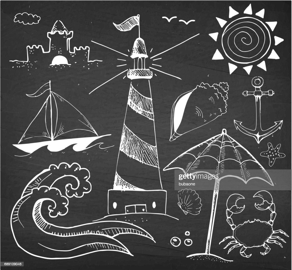 Beach and Summer Vector Hand Drawings on Chalk Black Board : Stock Illustration