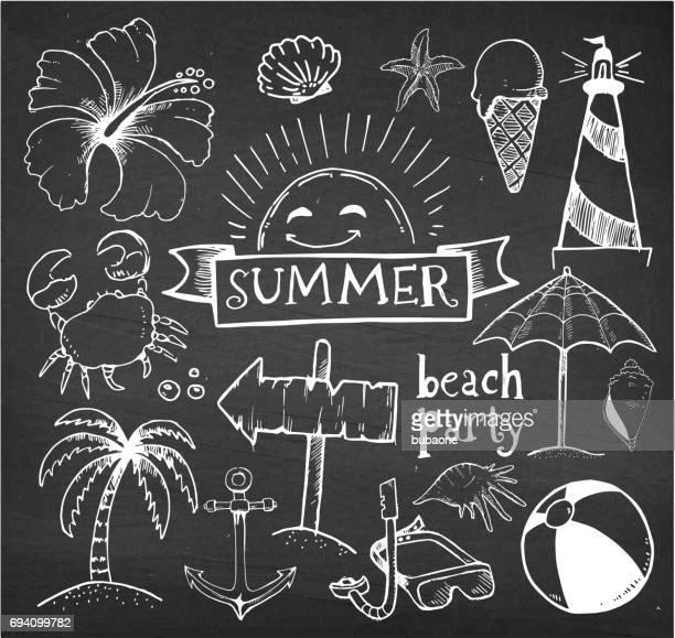 Strand und Sommer Vektor Handzeichnungen auf Kreide Schwarzes Brett