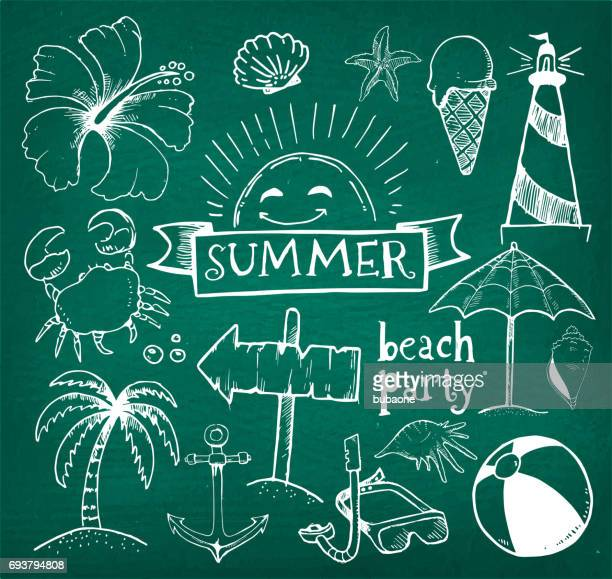 beach and summer vector hand drawings on green chalk board - beach holiday stock illustrations, clip art, cartoons, & icons