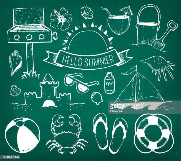 Beach and Summer Vector Hand Drawings on Green Chalk Board