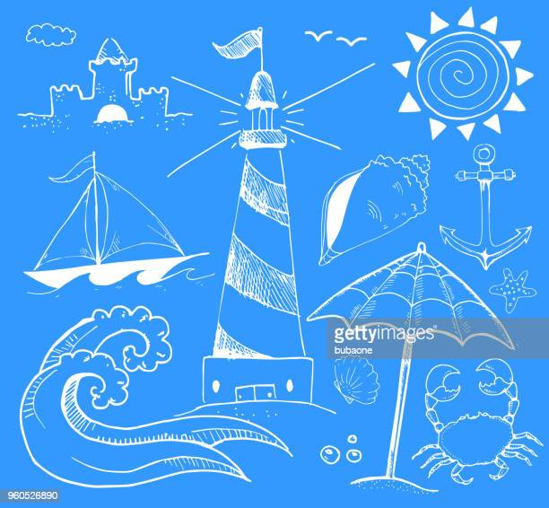 beach and summer vector ink doodles on blue background - sport set competition round stock illustrations