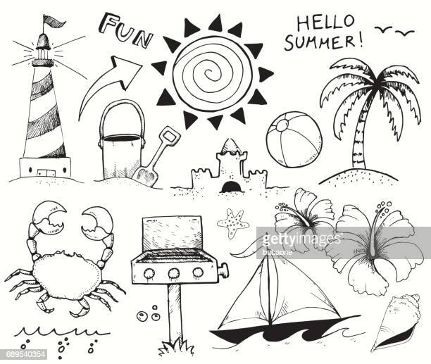 ilustraciones, imágenes clip art, dibujos animados e iconos de stock de playa y verano garabatos de tinta de vector sobre fondo blanco - pelota de playa
