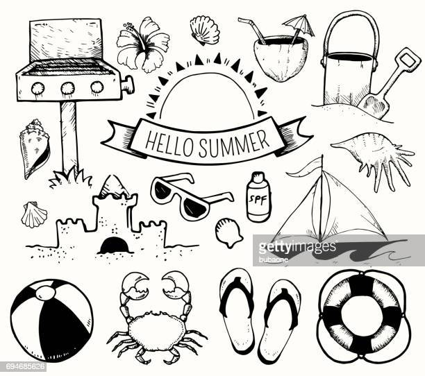 beach and summer vector ink doodles on white background - icon collage stock illustrations