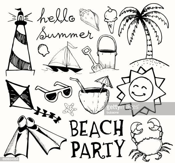 illustrazioni stock, clip art, cartoni animati e icone di tendenza di beach and summer vector ink doodles on white background - tempo turno sportivo